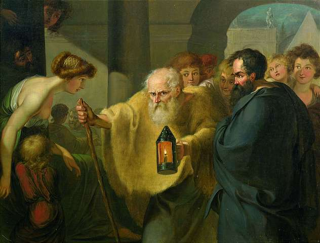 Diogenes looking for an honest man