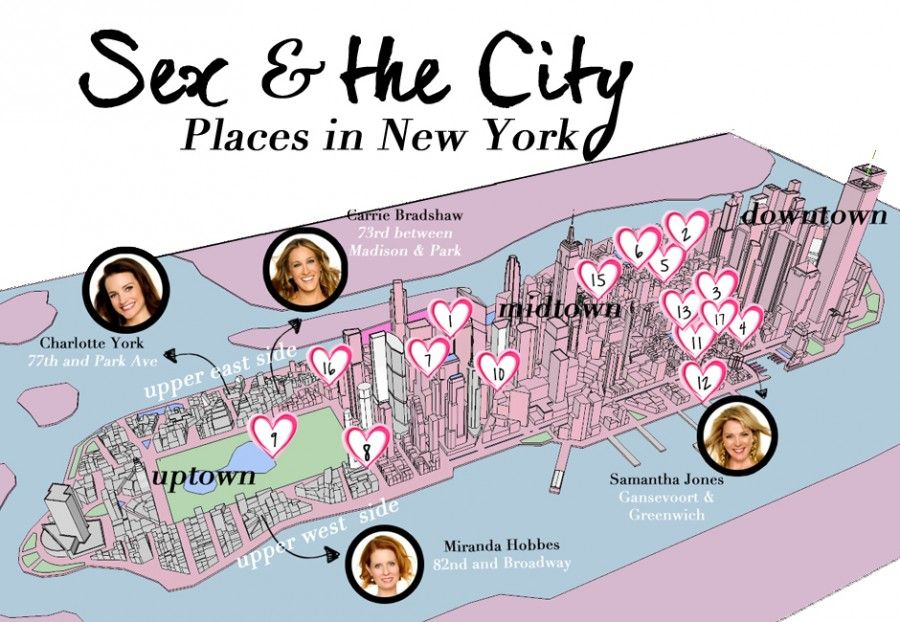 Map of Sex and the City locations